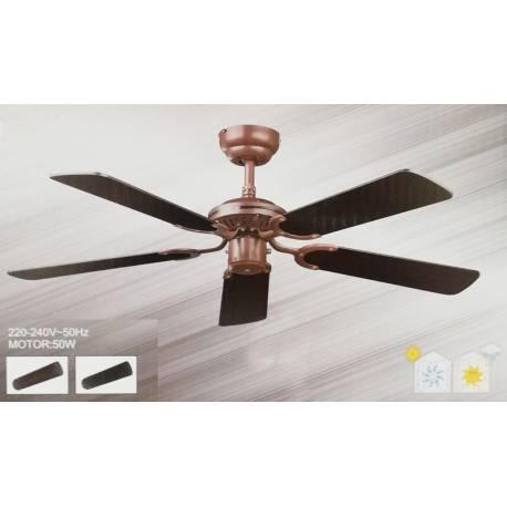 Таванен вентилатор, 107 см - цвят мед/венге, без осветление, без дистанционно