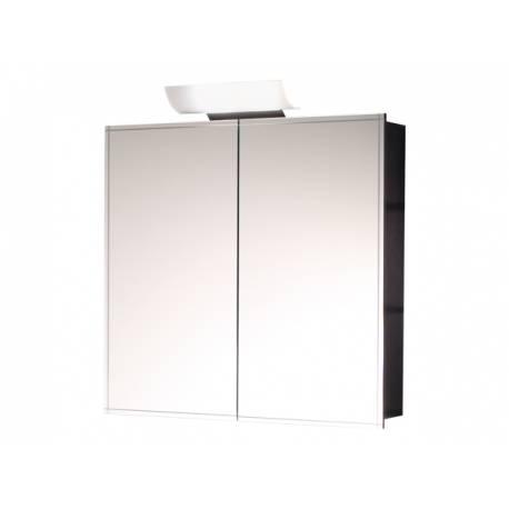 Шкаф за баня с огледало Salsa Orion - венге, с две врати, 70 см