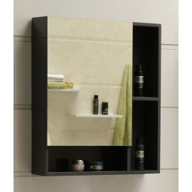 Шкаф за баня с огледало Ceramic, сив, PVC