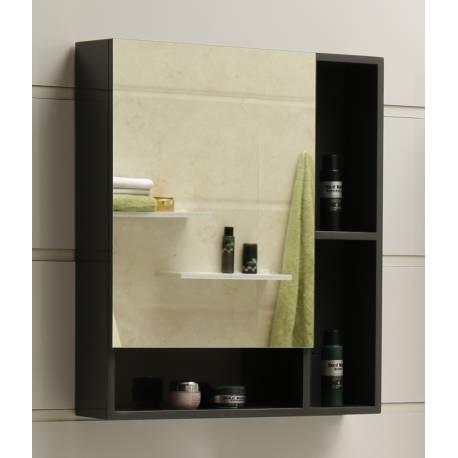 Шкаф за баня с огледало Inter Ceramic, сив, PVC