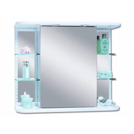 Шкаф за баня с огледало Riva Trio Dekor - бял - 66х78 см