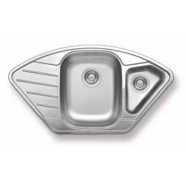Кухненска мивка за вграждане - неръждаема, трапецовидна, 86х43,5 см