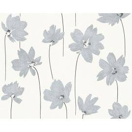 Флис тапет Life, сребристи цветя