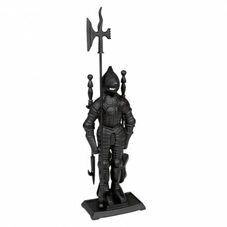 Комплект за камина - рицар, 4 части, чугун, черен
