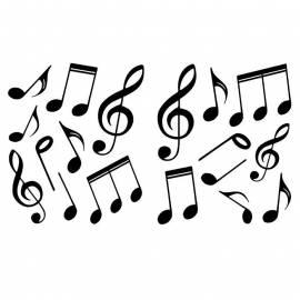 Декоративен стикер музикални ноти, 18,5x15 см, 2 части