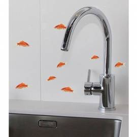 Декоративен стикер златни рибки, 11x10,5 см, 2 части
