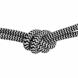 Текстилен кабел, черно-бял, 3x0,75 мм²