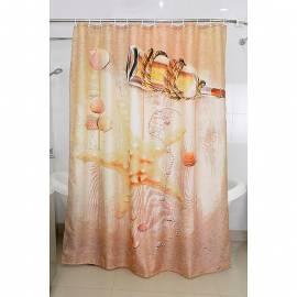 Текстилна завеса за баня с морски мотиви, 180х200 см