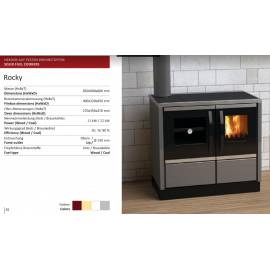 Imagén: Готварска  печка на твърдо гориво Rocky,  12 KW, суха, сива