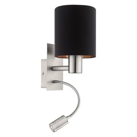 Аплик 1хЕ27 с LED 3,5W 380lm никел мат/черно-мед PASTERI