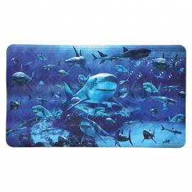 Постелка за вана Hai, 69х40 см, синя, декор с акули