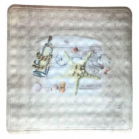 Постелка за душ Sealife, 55х54 см, декор с морски елементи