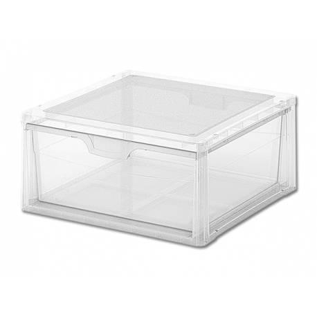 Кутия за съхранение, с чекмедже, прозрачна, 17 л