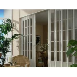 Сгъваема врата, остъклена, 86х205 см, бял ясен