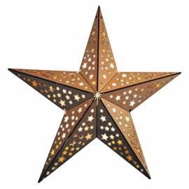 Коледна LED звезда, ървена, с дистанционно, 40 см
