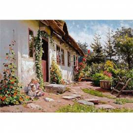Картина Little girls in the sunshine - Peder Monsted, 35x50 см