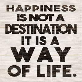 Картина Happiness Is Not A Destination, дървена, 30x30 см
