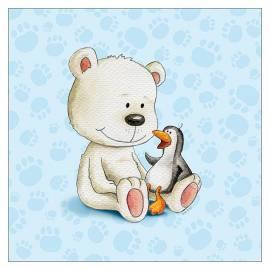 Картина Мече и пингвин, 30х30 см, канава
