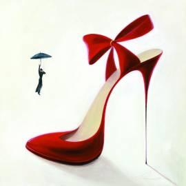 Картина Тънък червен ток, 30x30 см