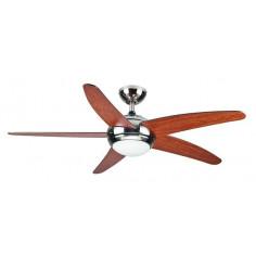 Imagén: Таванен вентилатор - 5 перки, осветление - 132см, дистанционно, чвят - череша