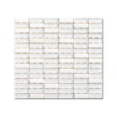 Мозайка, бяла, стъклена, 30x30 см
