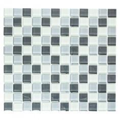 Imagén: Мозайка XCM 8125 - 32,7x30,2 см, стъкло, сиво-бяла