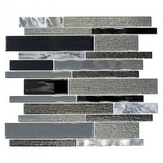 Imagén: Мозайка Crystal CM GV44 - 28,6x30 см, сиво-черна, глазирана