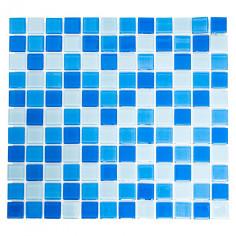 Imagén: Мозайка Quadrat Crystal Mix CM 4222 - 32,7x30,2 см, стъкло, синьо-бяла