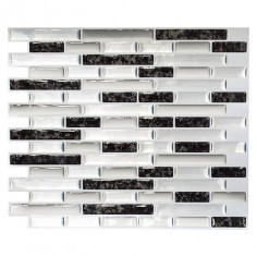 Самозалепваща мозайка SVM 24050, винил, сиво-черна, 23,6x25,5 см, 4 броя
