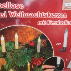 Коледни свещи 20 броя, без кабел, дистанционно