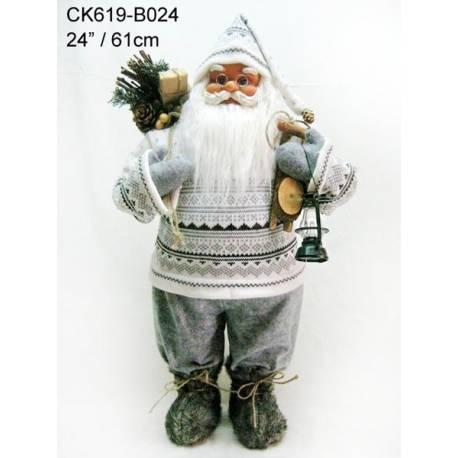 Дядо Коледа - 60 см, с бели и сиви дрехи