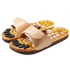 Масажни чехли за рефлексотерапия с естествени камъни - бежов цвят - размер S / № 35 - 36 - CASADA