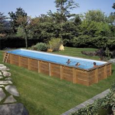 Imagén: Дървен правоъгълен басейн с външни размери 1218 x 427 x 146 cm