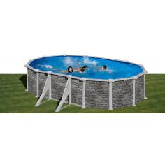 Imagén: Сглобяем басейн с метална стена овал имитация на камък 610 x 375 h 132см