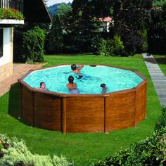 Imagén: Сглобяем басейн с метална стена кръг имитация на дърво ф460, h 120см