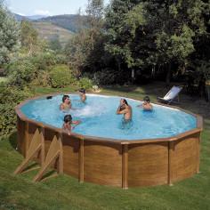 Сглобяем басейн с метална стена овал имитация на дърво 610 x 375 h 120см.