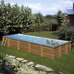 Дървен правоъгълен басейн с външни размери 1000 x 400 x 146 cm