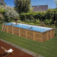 Дървен правоъгълен басейн с...
