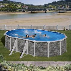 Imagén: Сглобяем басейн с метална стена овал имитация на камък 610 x 375, h 120см