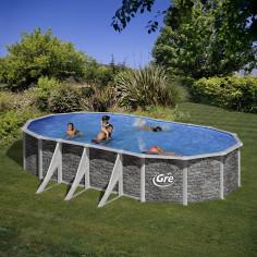 Сглобяем басейн с метална стена овал имитация на камък 730 x 375, h 120см.