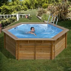 Дървен кръгъл басейн с външни размери Ø 412 x 119 cm