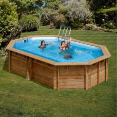 Дървен овален басейн с външни размери 436 x 336 x 119 cm