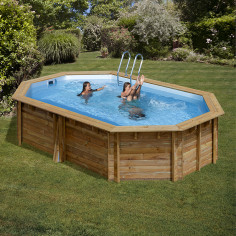 Дървен Овален басейн с външни размери 551 x 351 x 119 cm