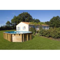 Дървен Овален басейн с външни размери 672 x 472 x 146 cm