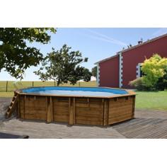 Дървен Овален басейн с външни размери 827 x 472 x 146 cm