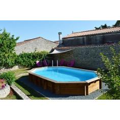 Дървен овален басейн с външни размери 942 x 592 x 146 cm