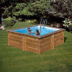 Дървен квадратен басейн с външни размери 300 x 300 x 119 cm