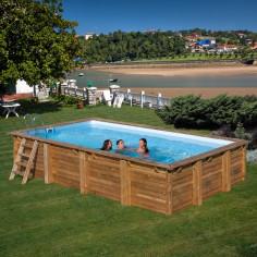 Дървен правоъгълен басейн с външни размери 600 x 400 x 133 cm