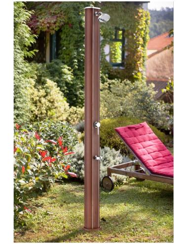 Алуминиев соларен душ - имитация на дърво 35л. Кръгла форма и кранче за измиване на краката