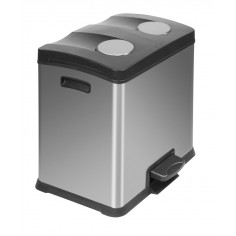 """Кош за разделно събиране на отпадъци с педал """"REJOICE"""" - 2 х 12 литра - мат EKO"""